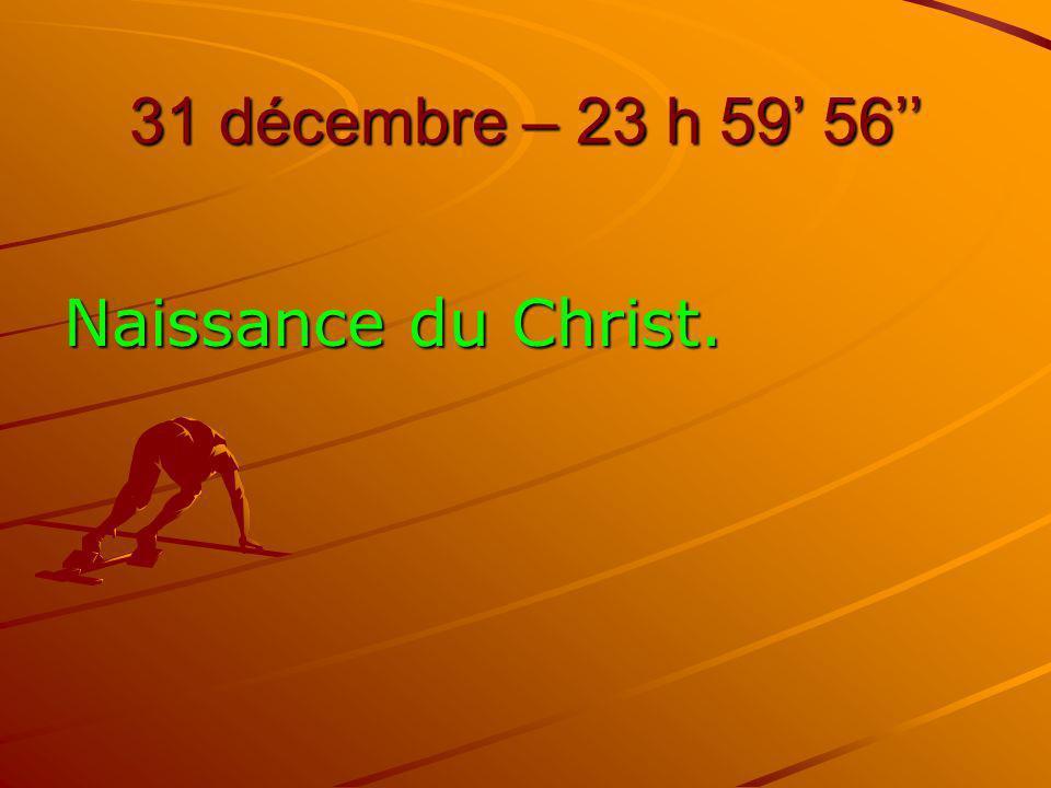 31 décembre – 23 h 59 56 Naissance du Christ.