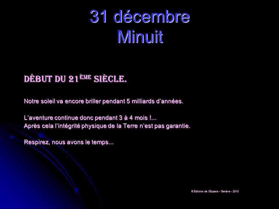 31 décembre Minuit Début du 21 ème siècle.