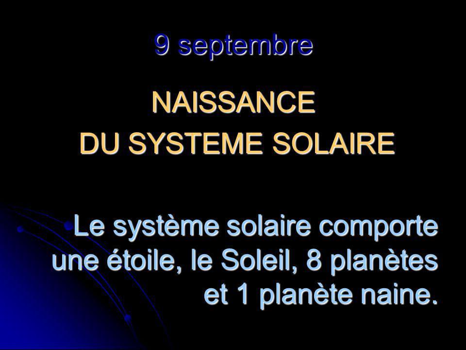 9 septembre NAISSANCE DU SYSTEME SOLAIRE DU SYSTEME SOLAIRE Le système solaire comporte une étoile, le Soleil, 8 planètes et 1 planète naine.