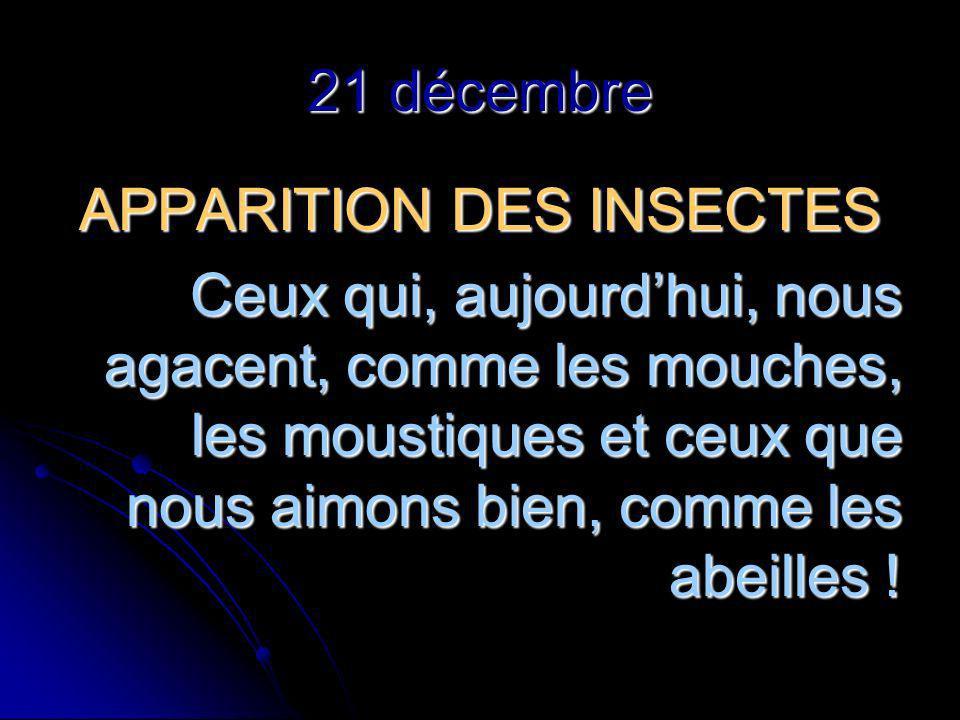 21 décembre APPARITION DES INSECTES Ceux qui, aujourdhui, nous agacent, comme les mouches, les moustiques et ceux que nous aimons bien, comme les abeilles !