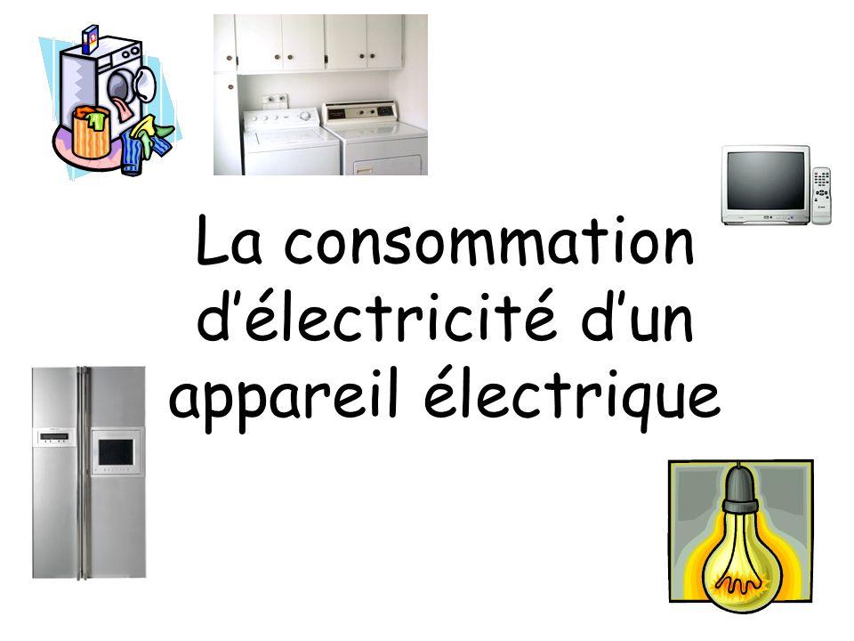 La consommation délectricité dun appareil électrique