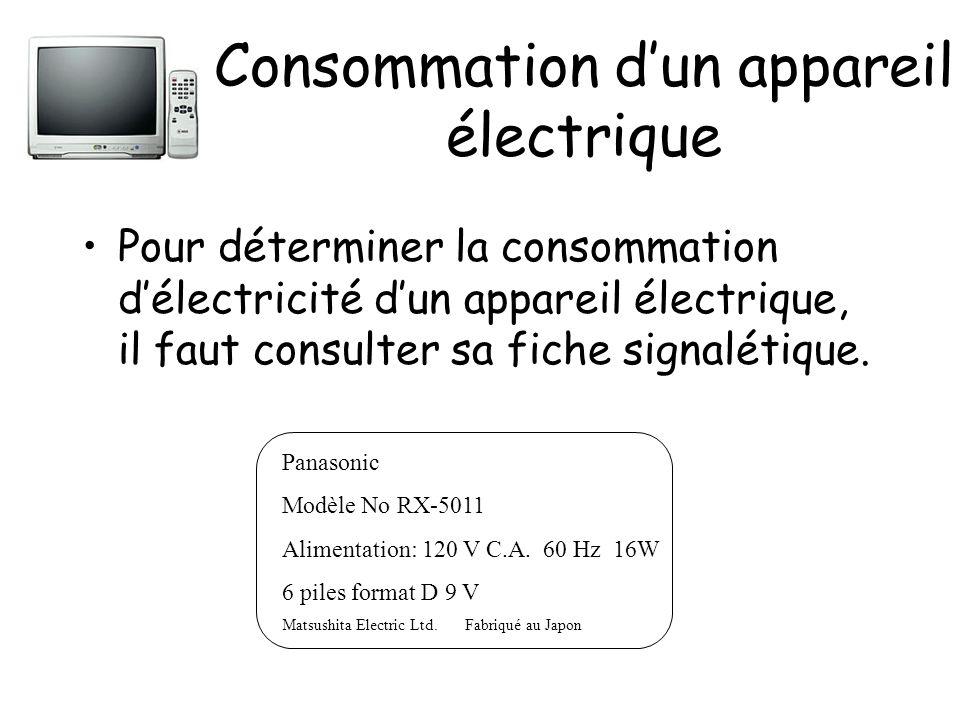 Consommation dun appareil électrique Pour déterminer la consommation délectricité dun appareil électrique, il faut consulter sa fiche signalétique. Pa