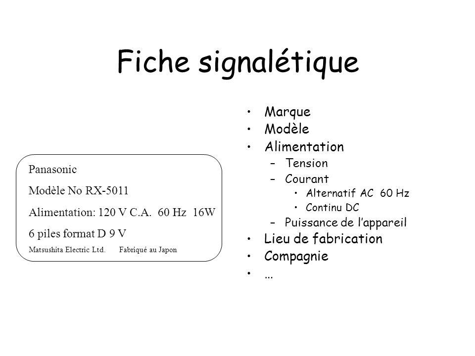 Fiche signalétique Marque Modèle Alimentation –Tension –Courant Alternatif AC 60 Hz Continu DC –Puissance de lappareil Lieu de fabrication Compagnie …