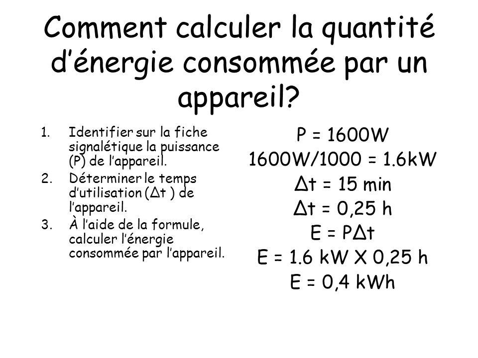 Comment calculer la quantité dénergie consommée par un appareil? 1.Identifier sur la fiche signalétique la puissance (P) de lappareil. 2.Déterminer le