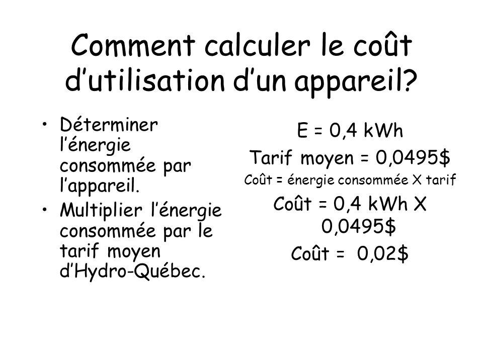 Comment calculer le coût dutilisation dun appareil? Déterminer lénergie consommée par lappareil. Multiplier lénergie consommée par le tarif moyen dHyd