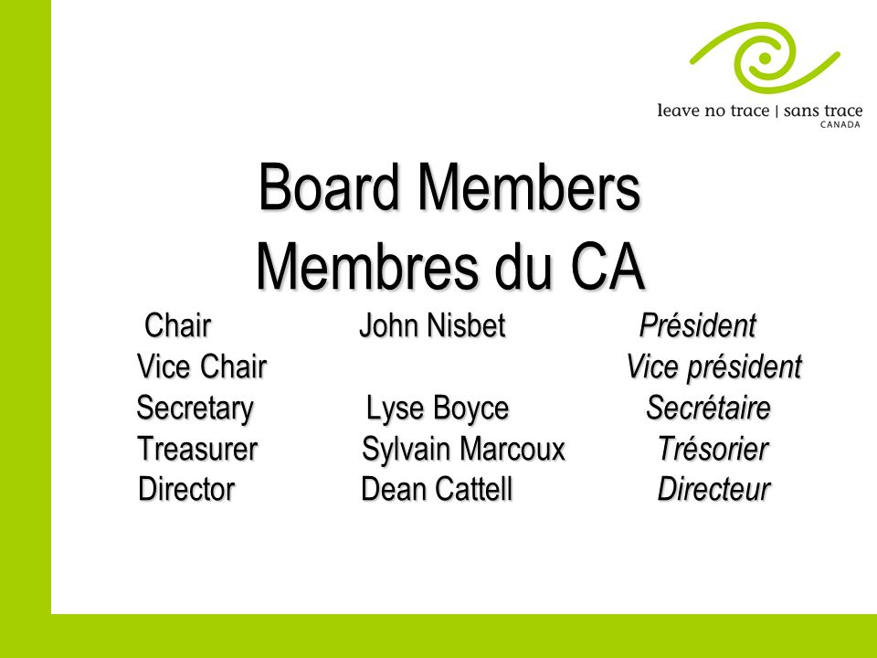 Board of Directors – report (contd) Conseil dadministration- rapport (suite) After review there was some redistribution of duties between LNTC Board and the Office Administrator.