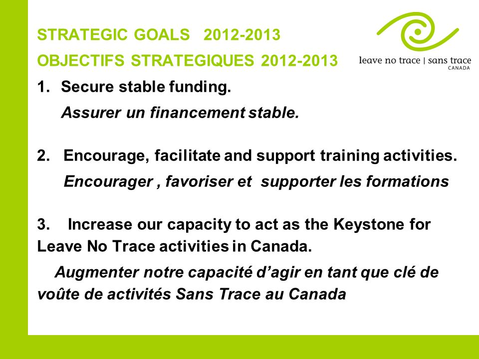 STRATEGIC GOALS 22012-2013 OBJECTIFS STRATEGIQUES 2012-2013 1.Secure stable funding. Assurer un financement stable. 2. Encourage, facilitate and suppo