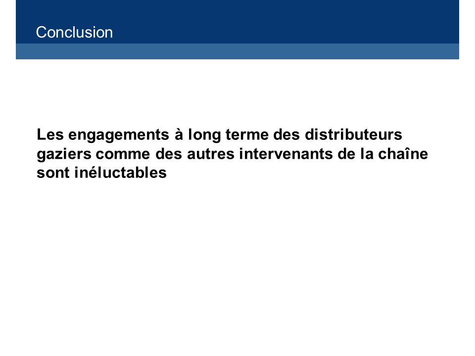 Conclusion Les engagements à long terme des distributeurs gaziers comme des autres intervenants de la chaîne sont inéluctables