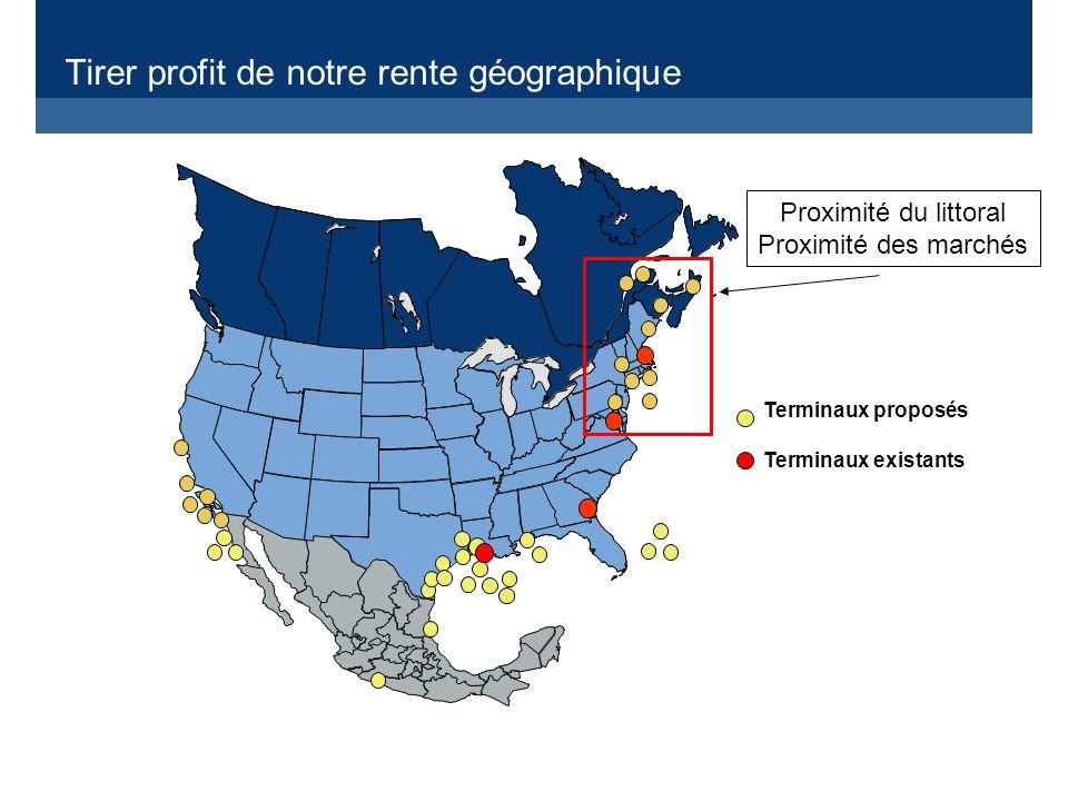 Tirer profit de notre rente géographique Terminaux proposés Terminaux existants Proximité du littoral Proximité des marchés