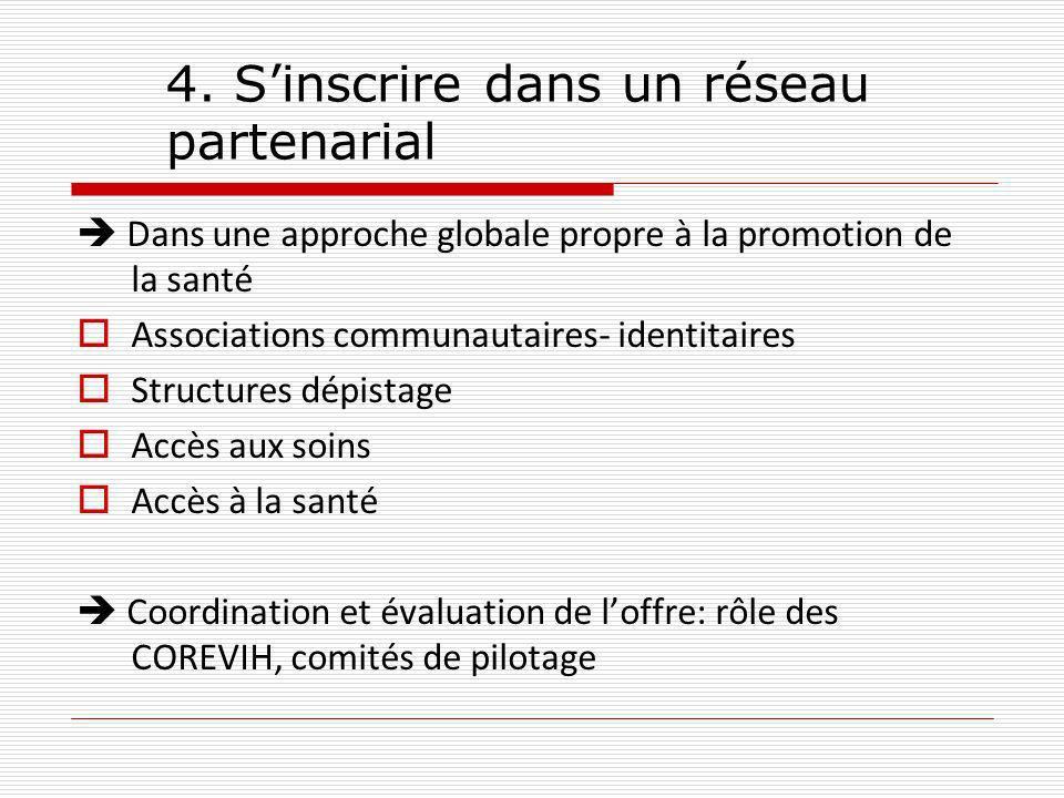 4. Sinscrire dans un réseau partenarial Dans une approche globale propre à la promotion de la santé Associations communautaires- identitaires Structur