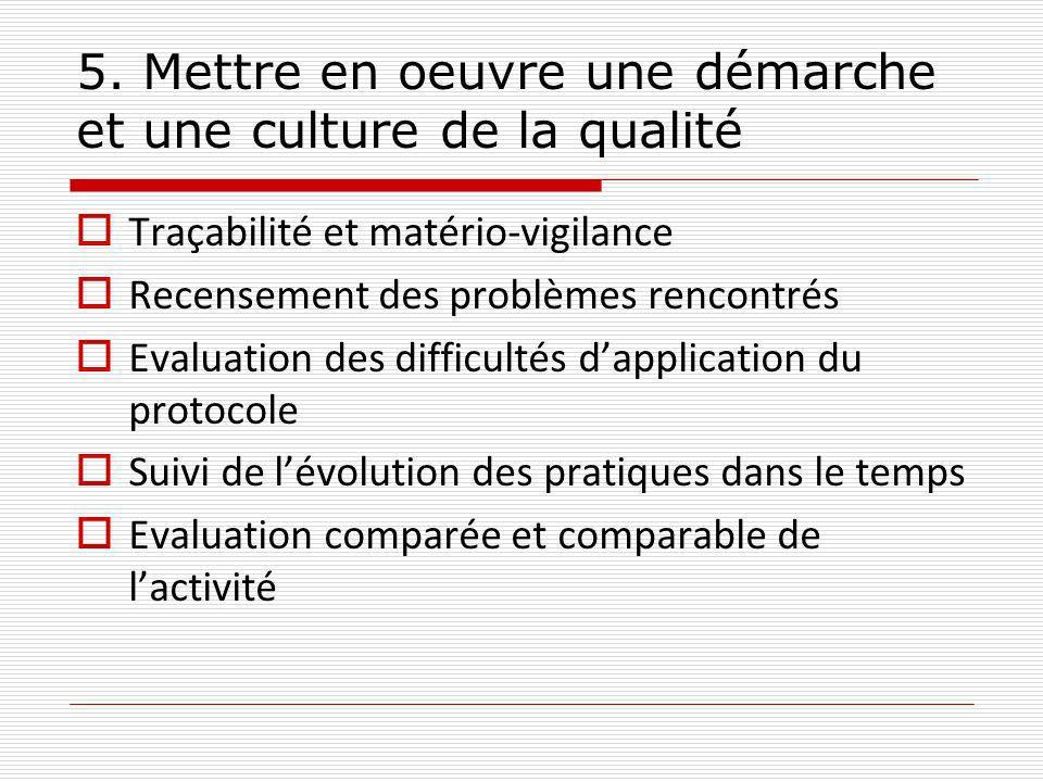 5. Mettre en oeuvre une démarche et une culture de la qualité Traçabilité et matério-vigilance Recensement des problèmes rencontrés Evaluation des dif
