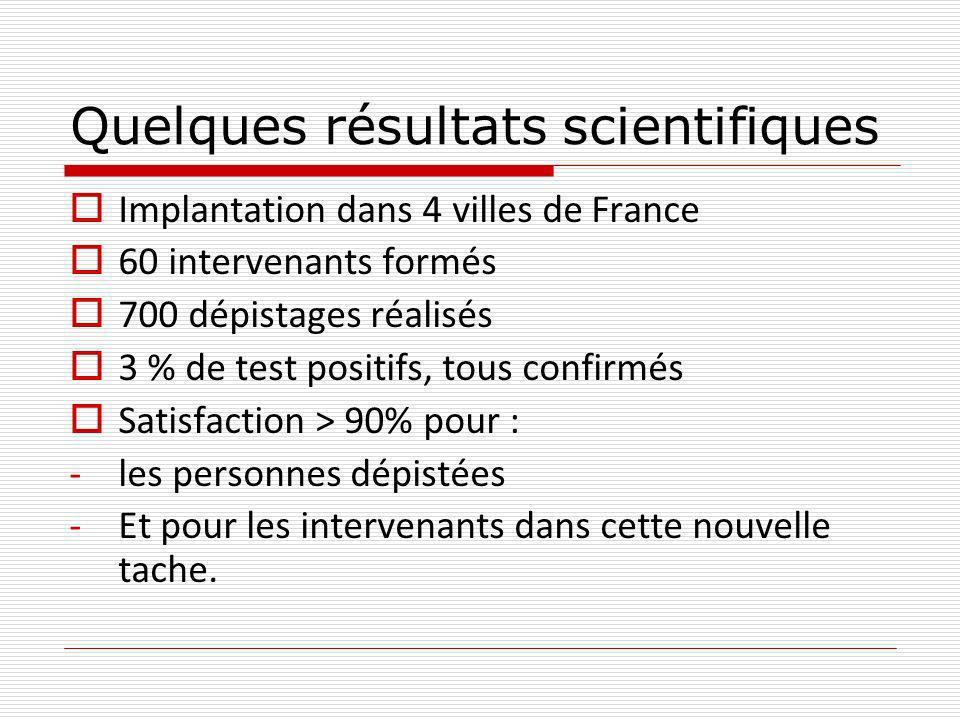 Quelques résultats scientifiques Implantation dans 4 villes de France 60 intervenants formés 700 dépistages réalisés 3 % de test positifs, tous confirmés Satisfaction > 90% pour : -les personnes dépistées -Et pour les intervenants dans cette nouvelle tache.