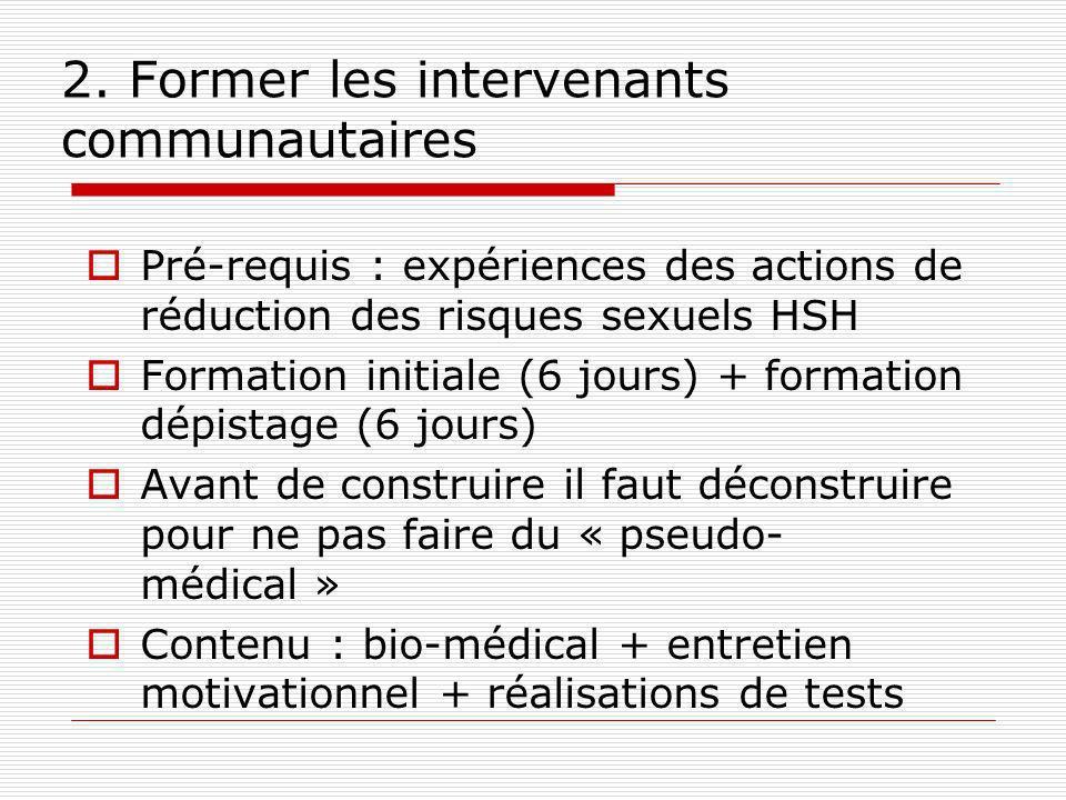 2. Former les intervenants communautaires Pré-requis : expériences des actions de réduction des risques sexuels HSH Formation initiale (6 jours) + for