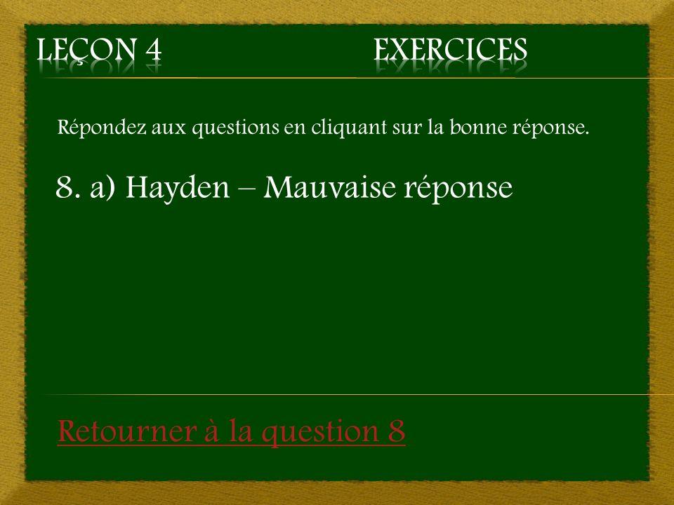 Répondez aux questions en cliquant sur la bonne réponse. 8. a) Hayden – Mauvaise réponse Retourner à la question 8