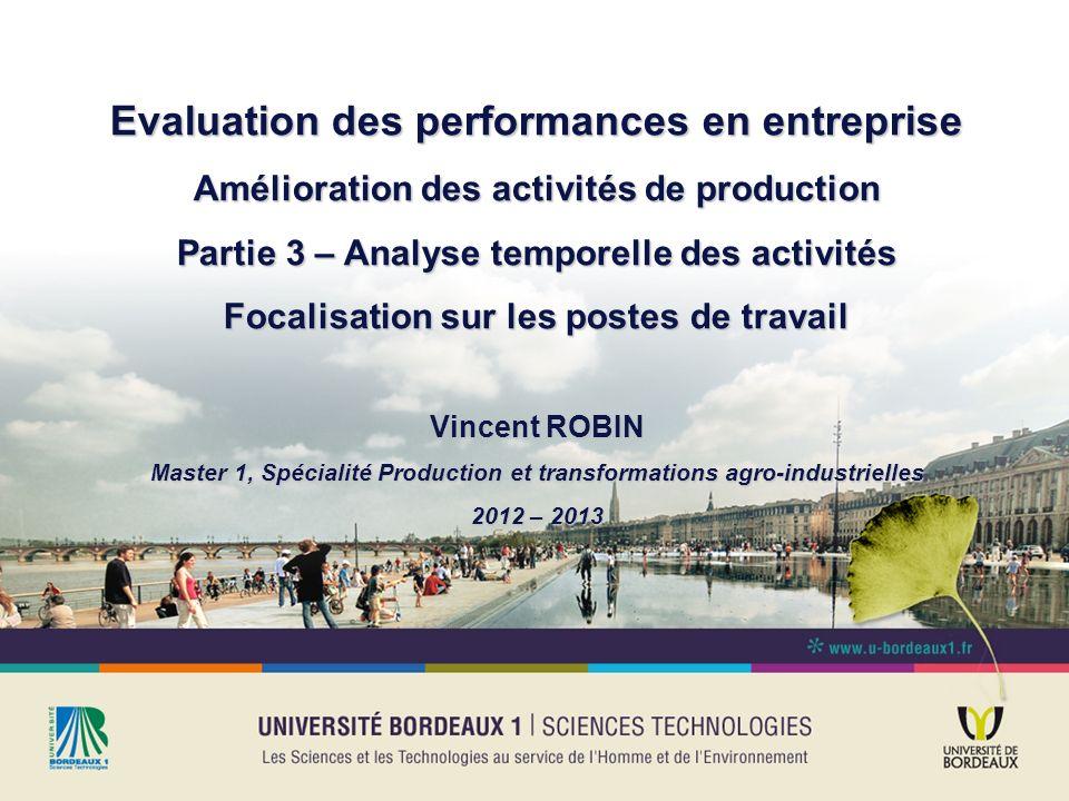 Evaluation des performances en entreprise Amélioration des activités de production Partie 3 – Analyse temporelle des activités Focalisation sur les po