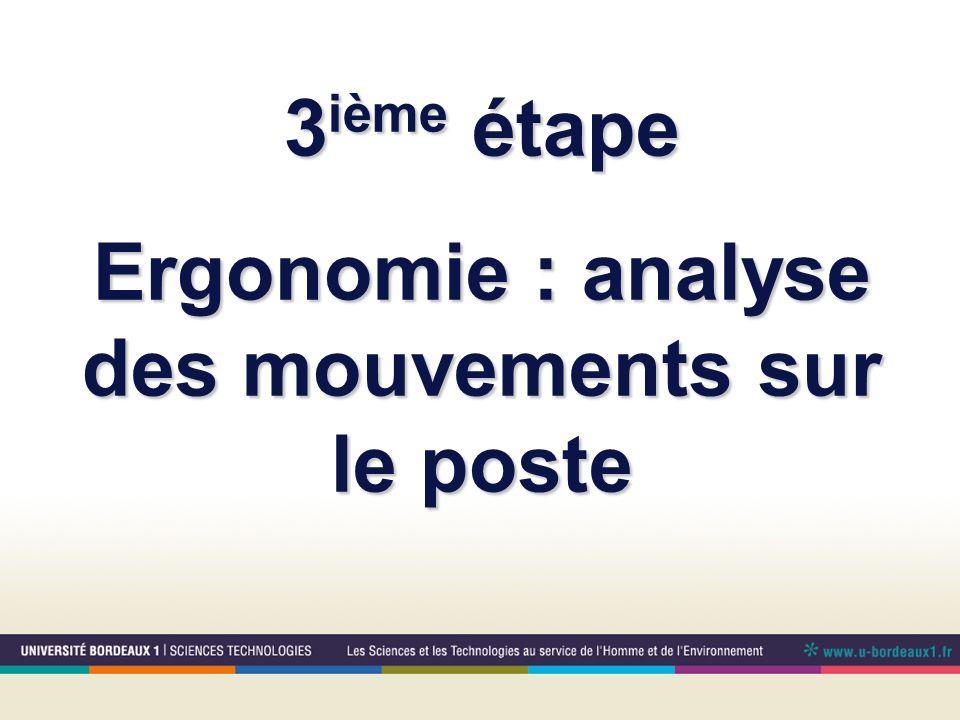 3 ième étape Ergonomie : analyse des mouvements sur le poste
