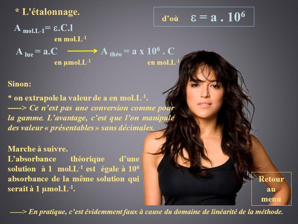 Retour au menu * L'étalonnage. Sinon: A lue = a.C A mol.L-1 =.C.l en mol.L -1 en µmol.L -1 A théo = a x 10 6. C en mol.L -1 Marche à suivre. Labsorban