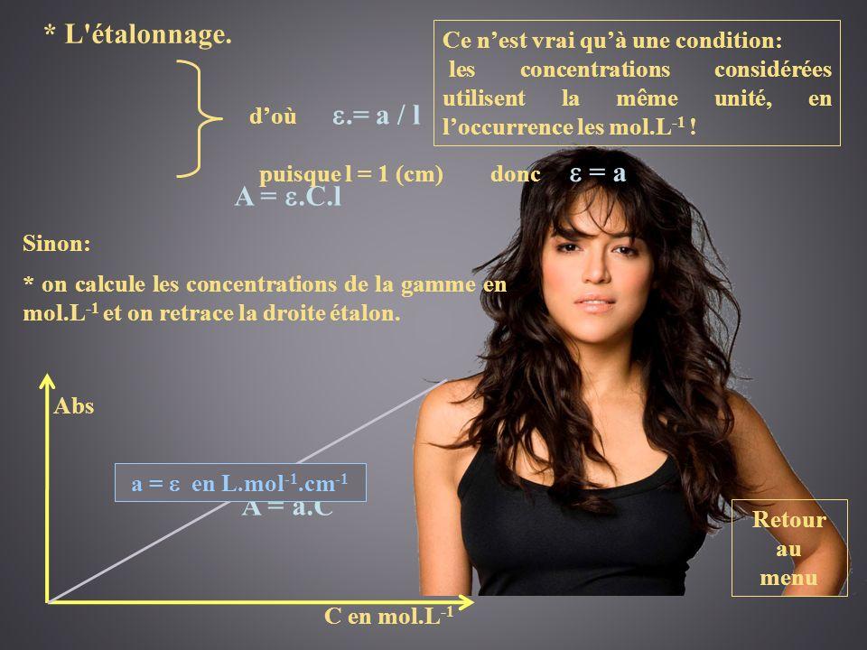 Retour au menu * L'étalonnage. A =.C.l A = a.C doù.= a / l puisque l = 1 (cm) donc = a Ce nest vrai quà une condition: les concentrations considérées