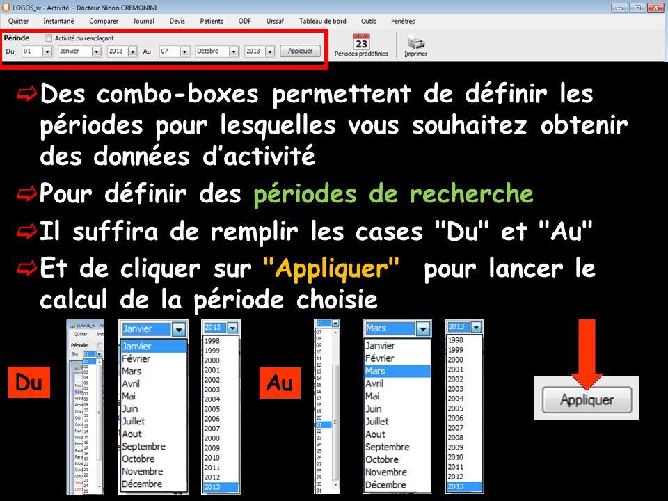 Des combo-boxes permettent de définir les périodes pour lesquelles vous souhaitez obtenir des données dactivité Pour définir des périodes de recherche Il suffira de remplir les cases Du et Au Et de cliquer sur Appliquer pour lancer le calcul de la période choisie Du Au