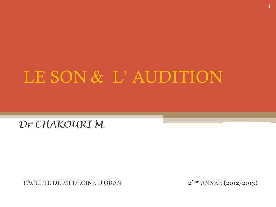 LE SON & L AUDITION Dr CHAKOURI M. FACULTE DE MEDECINE DORAN 2 éme ANNEE (2012/2013) 1