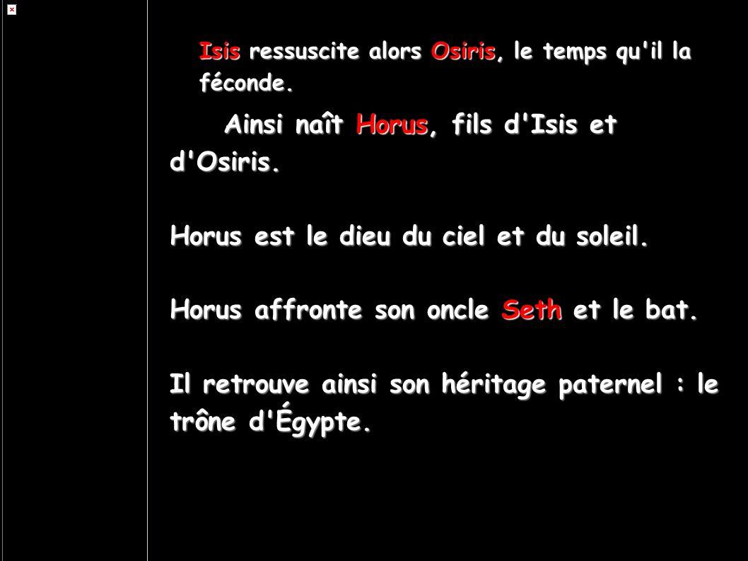 Isis ressuscite alors Osiris, le temps qu'il la féconde. Ainsi naît Horus, fils d'Isis et d'Osiris. Horus est le dieu du ciel et du soleil. Horus affr
