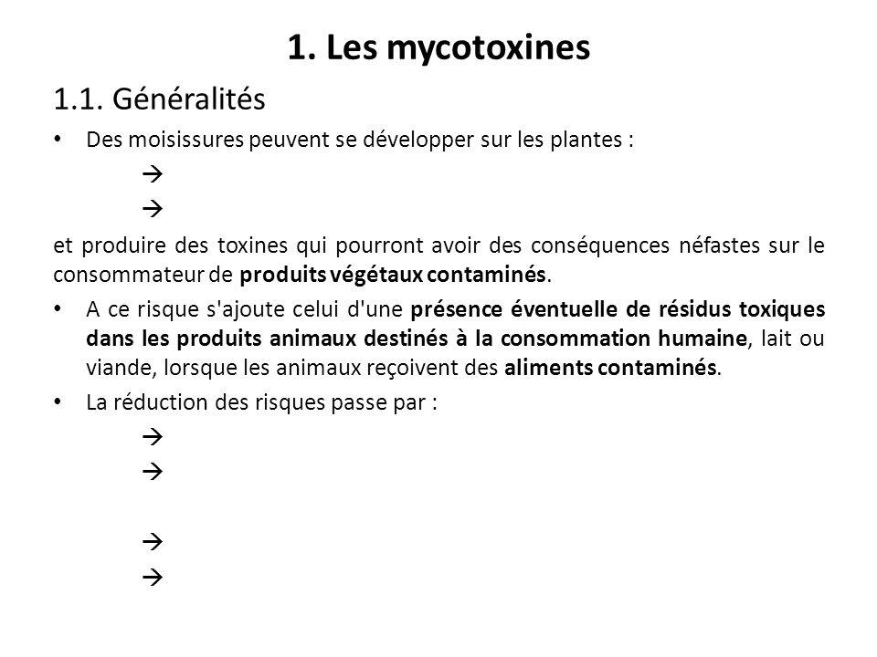 1. Les mycotoxines 1.1. Généralités Des moisissures peuvent se développer sur les plantes : et produire des toxines qui pourront avoir des conséquence