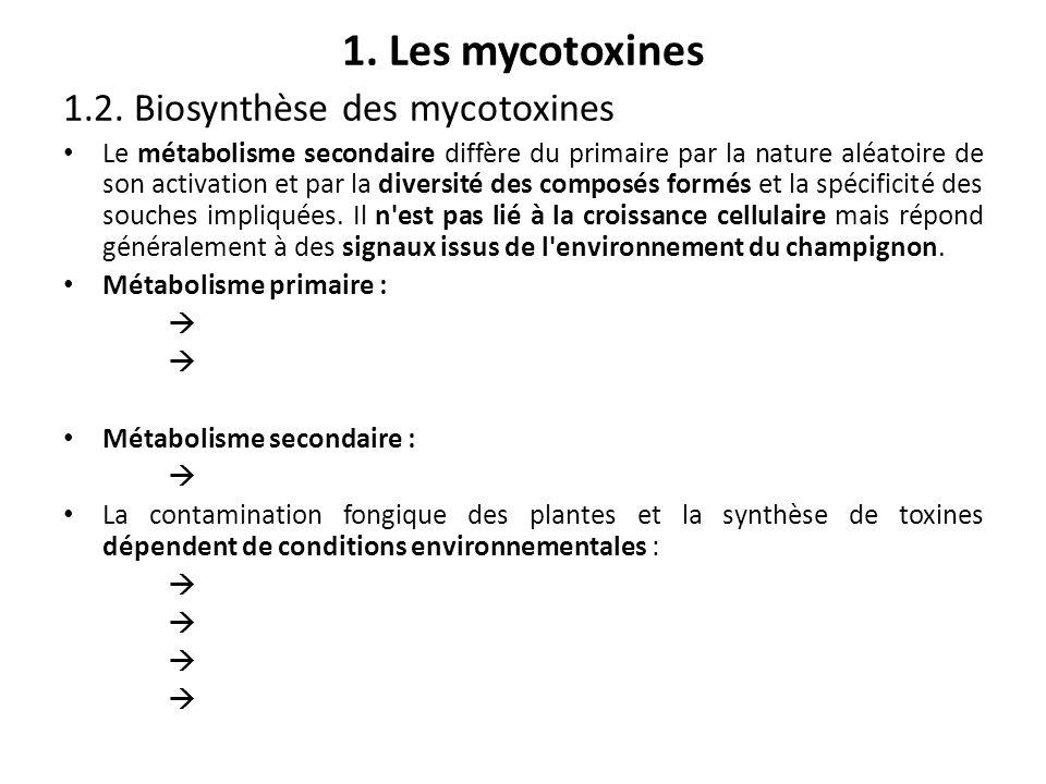 1. Les mycotoxines 1.2. Biosynthèse des mycotoxines Le métabolisme secondaire diffère du primaire par la nature aléatoire de son activation et par la