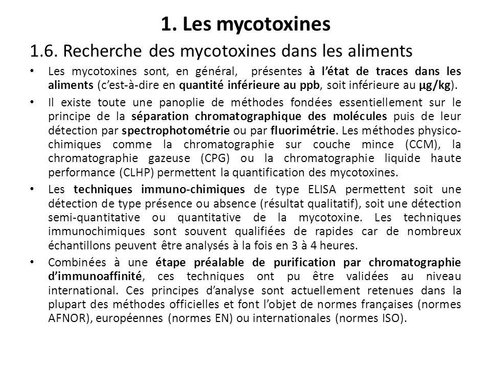1. Les mycotoxines 1.6. Recherche des mycotoxines dans les aliments Les mycotoxines sont, en général, présentes à létat de traces dans les aliments (c