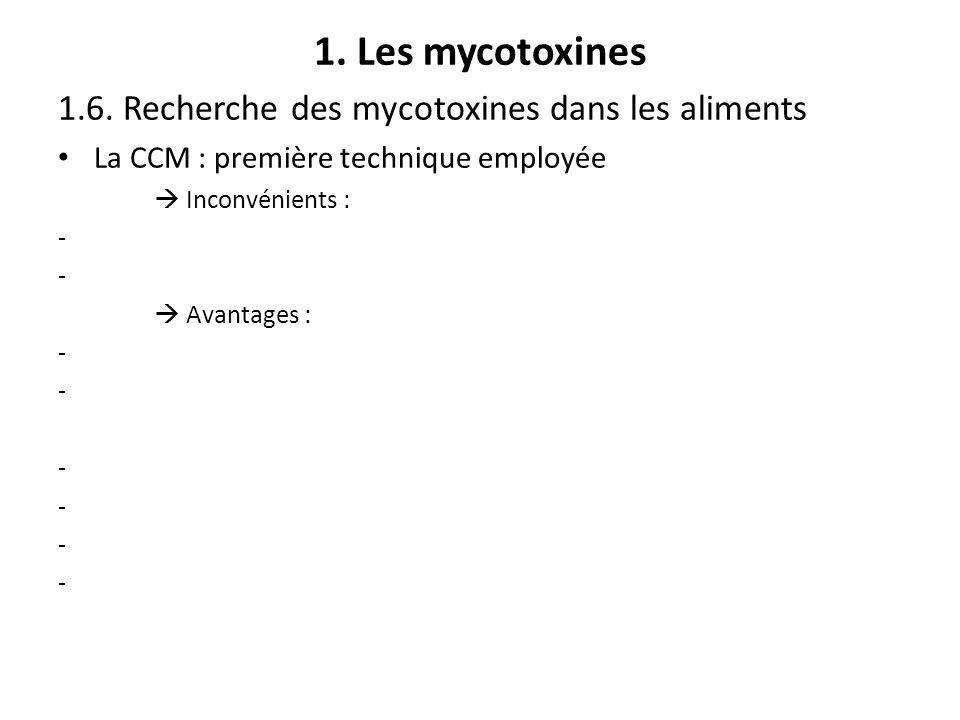 1. Les mycotoxines 1.6. Recherche des mycotoxines dans les aliments La CCM : première technique employée Inconvénients : - Avantages : -