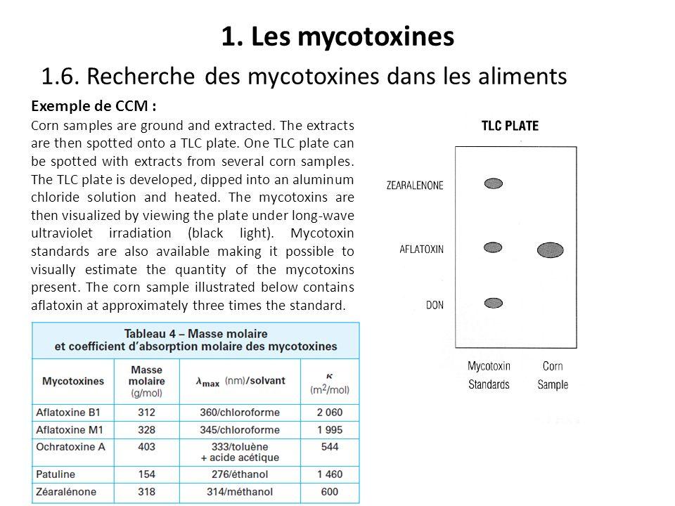 1. Les mycotoxines 1.6. Recherche des mycotoxines dans les aliments Exemple de CCM : Corn samples are ground and extracted. The extracts are then spot