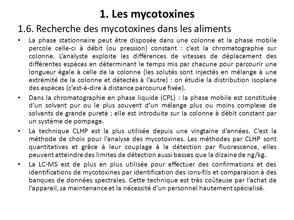 1. Les mycotoxines 1.6. Recherche des mycotoxines dans les aliments La phase stationnaire peut être disposée dans une colonne et la phase mobile perco