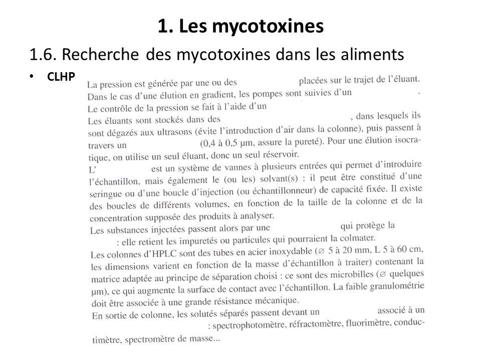 1. Les mycotoxines 1.6. Recherche des mycotoxines dans les aliments CLHP