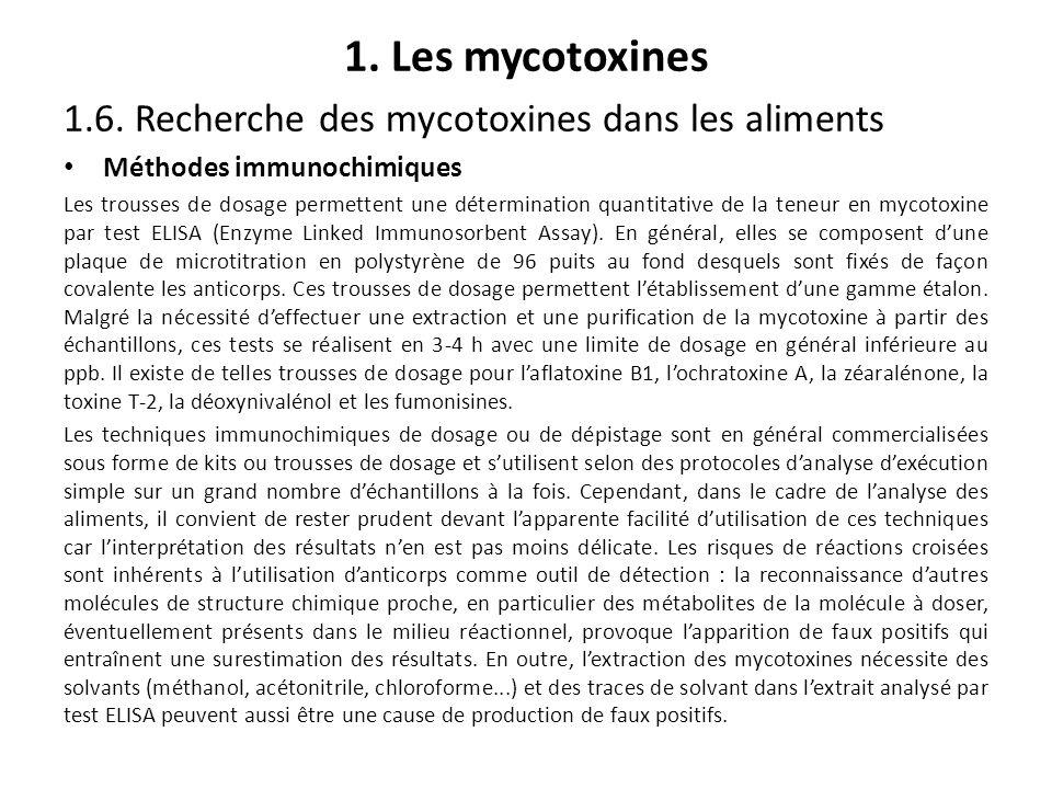 1. Les mycotoxines 1.6. Recherche des mycotoxines dans les aliments Méthodes immunochimiques Les trousses de dosage permettent une détermination quant