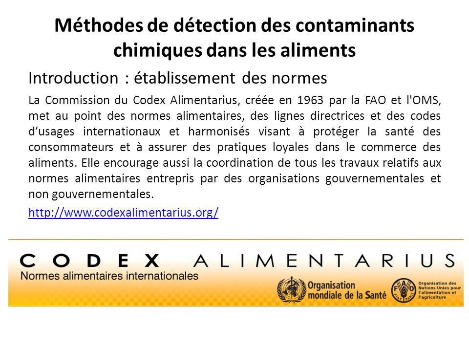 Méthodes de détection des contaminants chimiques dans les aliments Introduction : établissement des normes La Commission du Codex Alimentarius, créée