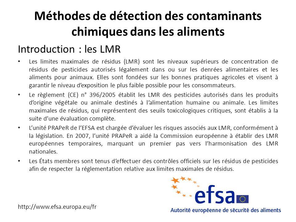Méthodes de détection des contaminants chimiques dans les aliments Introduction : les LMR Les limites maximales de résidus (LMR) sont les niveaux supé