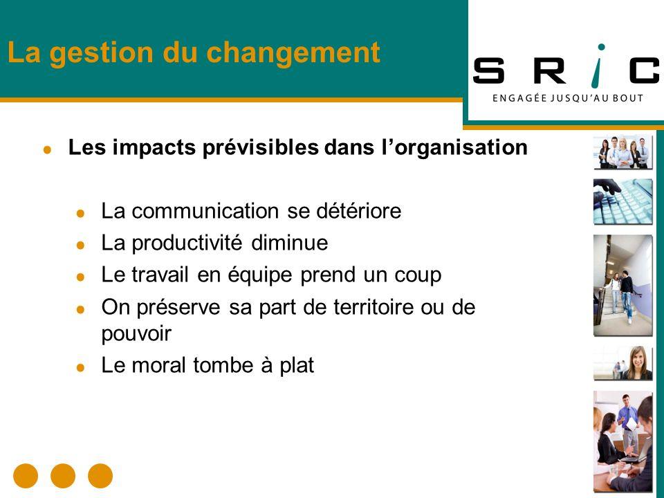 La gestion du changement Les impacts prévisibles dans lorganisation La communication se détériore La productivité diminue Le travail en équipe prend u