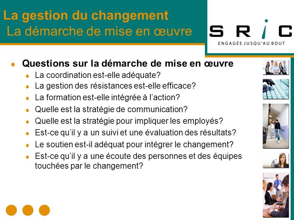 Questions sur la démarche de mise en œuvre La coordination est-elle adéquate? La gestion des résistances est-elle efficace? La formation est-elle inté