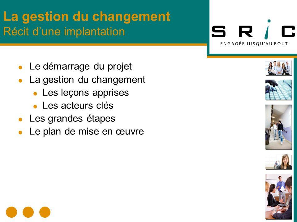 Le démarrage du projet La gestion du changement Les leçons apprises Les acteurs clés Les grandes étapes Le plan de mise en œuvre La gestion du changem