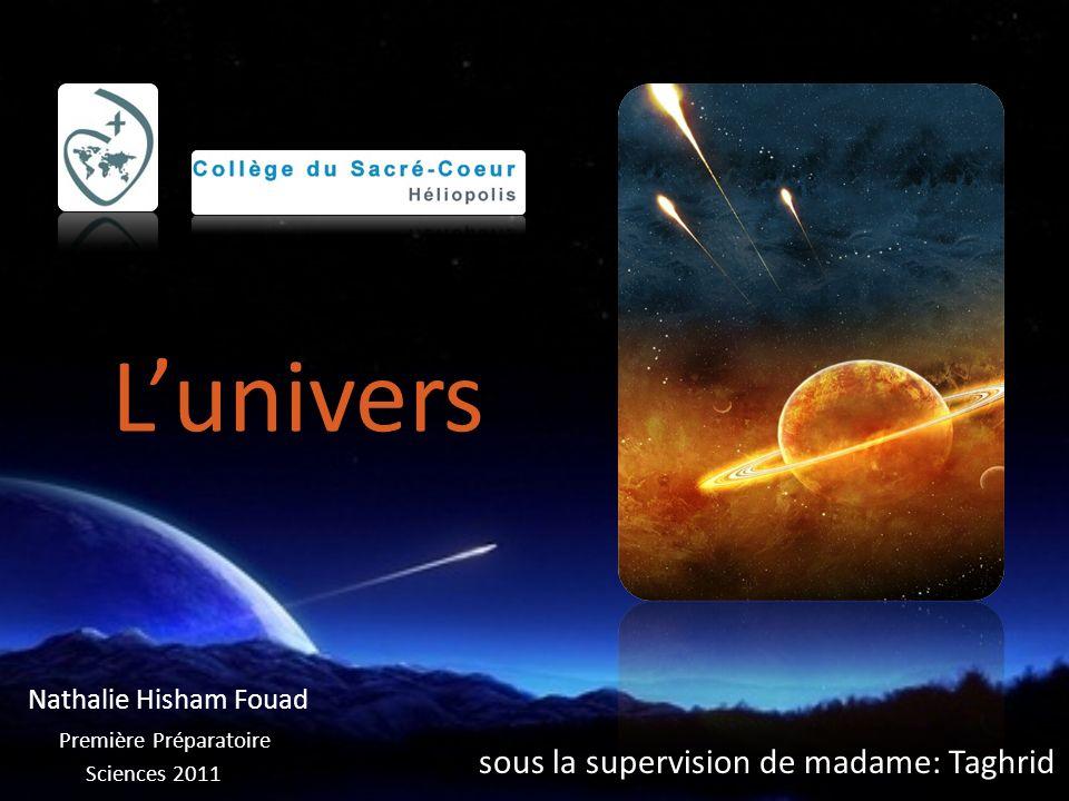 sous la supervision de madame: Taghrid Sciences 2011 Nathalie Hisham Fouad Première Préparatoire Lunivers