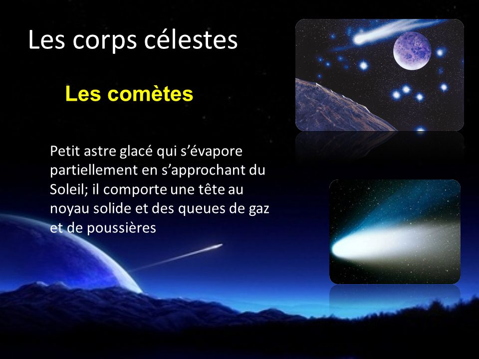 Les comètes Petit astre glacé qui sévapore partiellement en sapprochant du Soleil; il comporte une tête au noyau solide et des queues de gaz et de poussières Les corps célestes