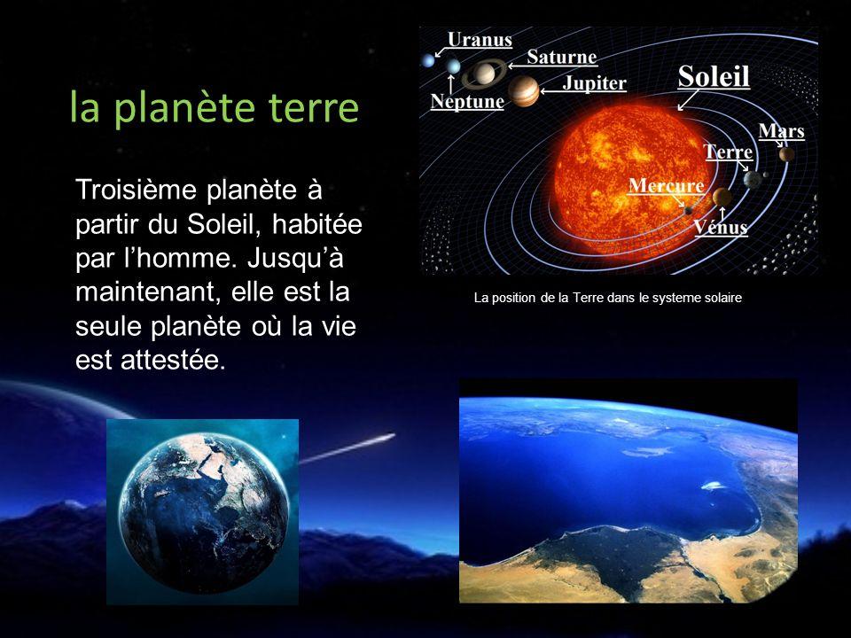 Troisième planète à partir du Soleil, habitée par lhomme.
