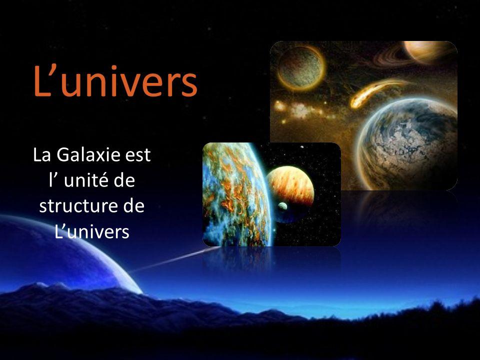 La Galaxie est l unité de structure de Lunivers Lunivers