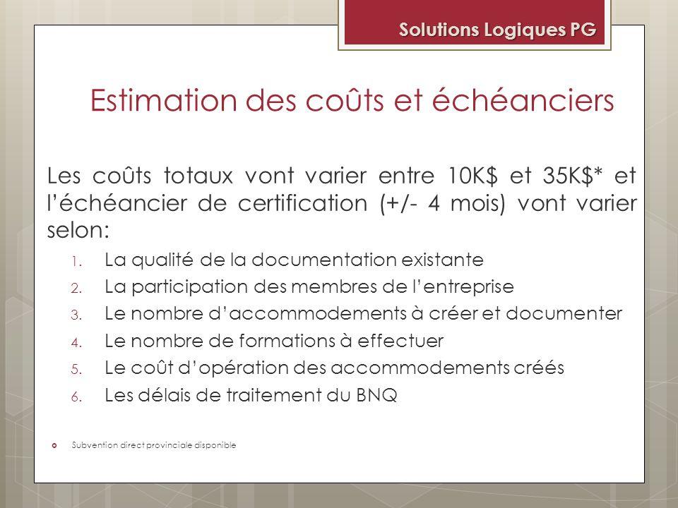 Estimation des coûts et échéanciers Les coûts totaux vont varier entre 10K$ et 35K$* et léchéancier de certification (+/- 4 mois) vont varier selon: 1