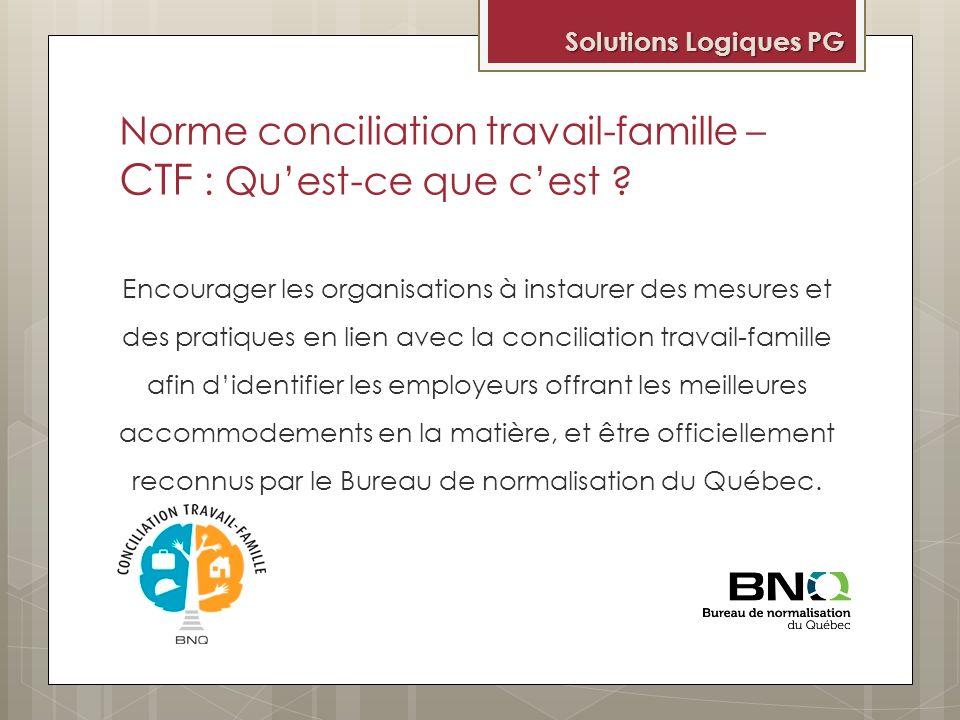 Conciliation travail-famille, quelques exemples Une employée peut débuter sa journée de travail plus tard pour reconduire un enfant à la garderie et lautre à lécole.