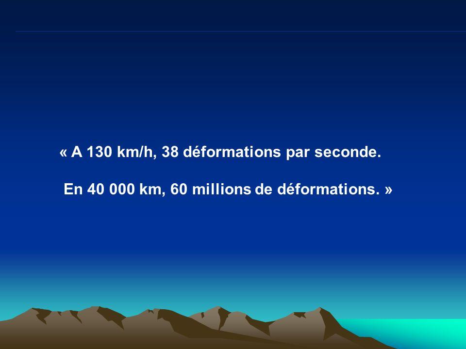 « A 130 km/h, 38 déformations par seconde. En 40 000 km, 60 millions de déformations. »