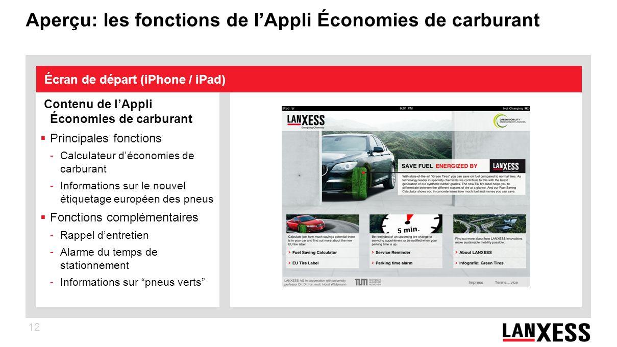12 Aperçu: les fonctions de lAppli Économies de carburant Contenu de lAppli Économies de carburant Principales fonctions -Calculateur déconomies de ca