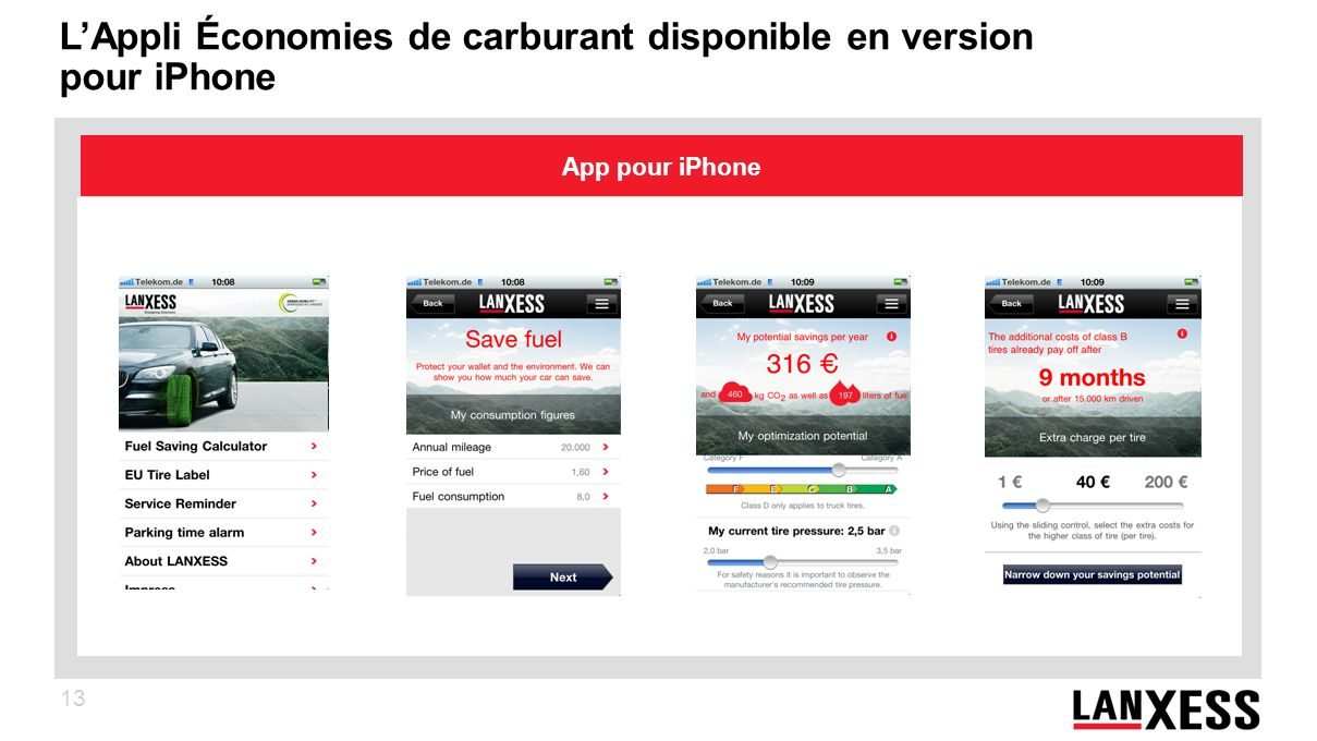 13 LAppli Économies de carburant disponible en version pour iPhone App pour iPhone