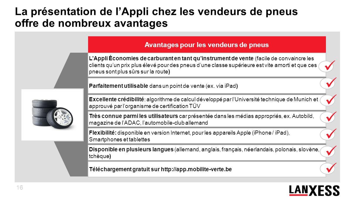16 La présentation de lAppli chez les vendeurs de pneus offre de nombreux avantages LAppli Économies de carburant en tant quinstrument de vente (facil