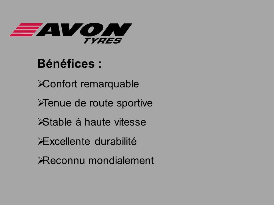 Bénéfices : Confort remarquable Tenue de route sportive Stable à haute vitesse Excellente durabilité Reconnu mondialement
