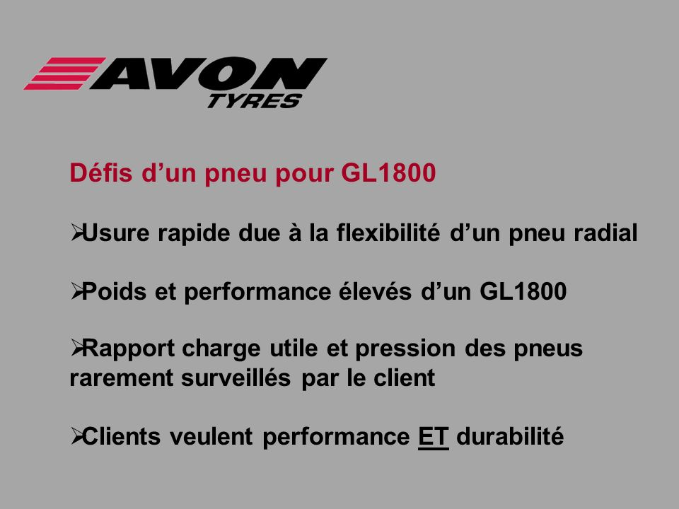 Défis dun pneu pour GL1800 Usure rapide due à la flexibilité dun pneu radial Poids et performance élevés dun GL1800 Rapport charge utile et pression d